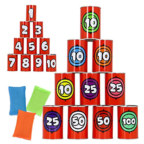 JOYIN 13 Pcs Carnival Games Bean Bag Toss Game for Party, Sturdy Knockdown Can Game, Birthday Party Games, Family Games, Best Outdoor and Indoor Games for Kids & Adults