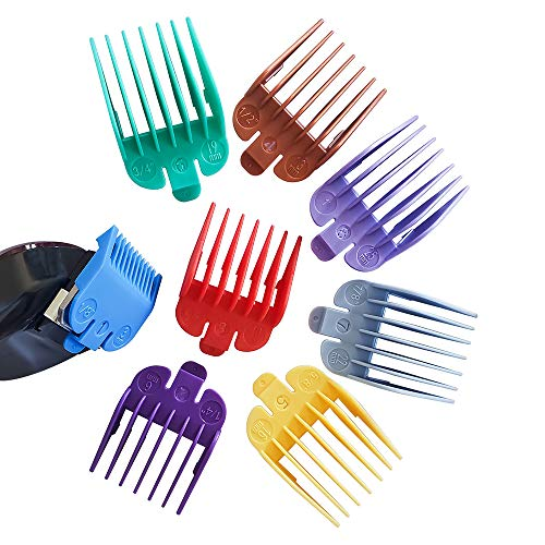 GETi Clipper Guide Combs – 8Pcs Numbered Clipper Guards – 8 Colors & Sizes - Comb Attachments – Durable Plastic – Easy Replacement and Perfect Fit – Professional or Home Use. Fits Most Wahl Clippers.