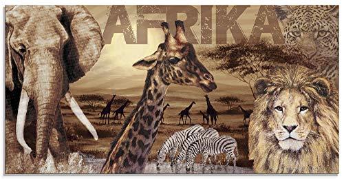 Artland Glasbilder Wandbild Glas Bild einteilig 100x50 cm Querformat Afrika Tiere Elefant Löwe Safari Savanne Natur Landschaft T3KB