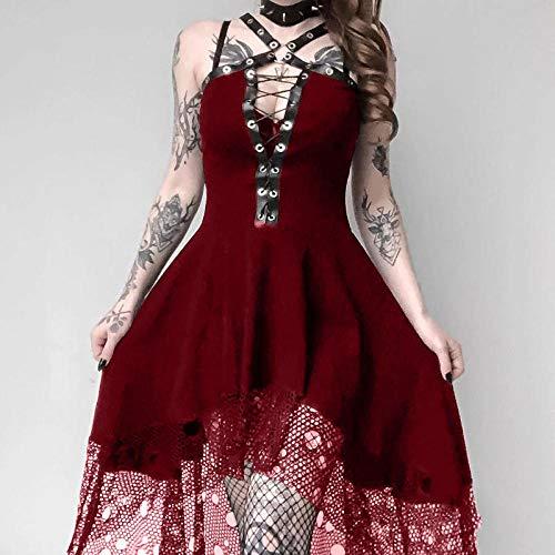 Fnho Disfraz Renacentista Cosplay de Halloween,Vestido Medieval para Halloween,Vestido de Tirantes de Encaje, Vestido Delgado Sexy-Red_3XL