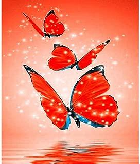 Cuadros En Punto De Cruz,Diamante Pintura Punto De Cruz Animal 5D Diamante Bordado Venta Mariposa Roja Diy Completo Diamante Redondo Mosaico Costura 11.8x15.7 Inch