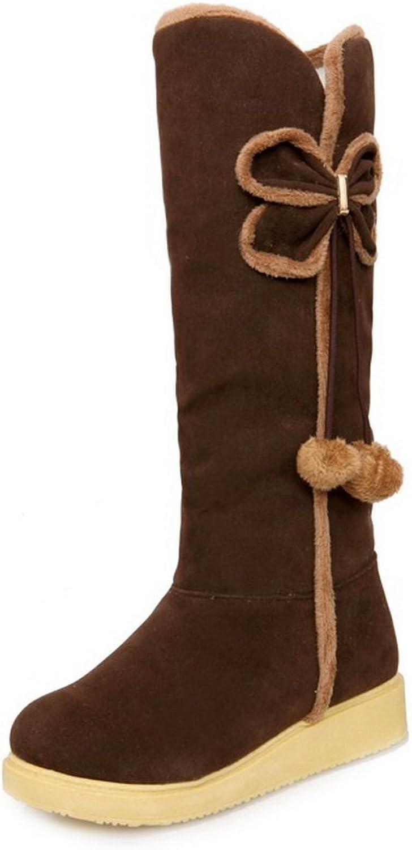 BalaMasa Womens Casual Slip-Resistant Platform Suede Boots ABL10314