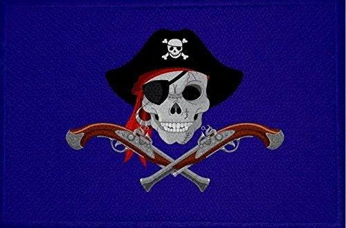 U24 patch piraat met pistolen en muts blauwe vlag opstrijkbare patch 9 x 6 cm