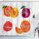 ABAKUHAUS Obst Duschvorhang, Pfirsich Himbeere & Pflaume, mit 12 Ringe Set Wasserdicht Stielvoll Modern Farbfest & Schimmel Resistent, 175x180 cm, Mehrfarbig