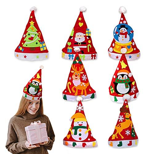 Yisscen Gorros de Papa Noel,7pcs DIY Gorro de Navidad para Niños,Gorro Santa Claus de Fieltro,Hecho a Mano Sombreros Rojos de Navidad,Con Arbol de Navidad,Muñeco de Nieve Alce Manualidades Navidad