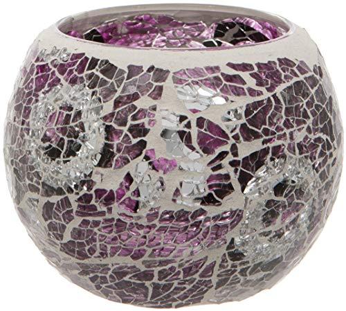Maturi Glas-Teelichthalter Mosaik 8 x 7.5cm violett