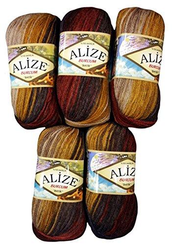 Alize Burcum Batik - Ovillo de lana (5 x 100 g, 500 g), multicolor, efecto degradado