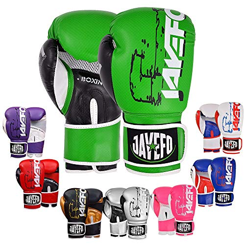 JAYEFO R-1 Ultimate Warrior Leather Boxing Gloves Muay Thai Gloves Sparring Gloves Training Bag Gloves MMA (Green-Black, 16 OZ)