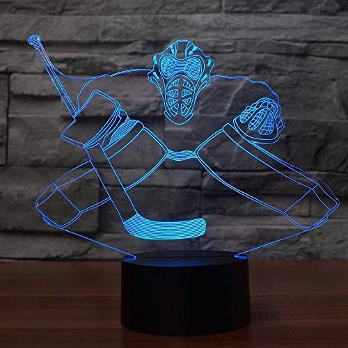 IJshockey LED Night Light 3D bureaulamp kleurrijk visueel decoratie voor huis ventilatoren sport geschenken slaapkamer jongens nachttafellamp