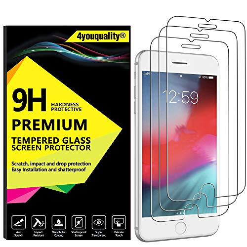 4youquality  2-Pack} iPhone 8 Plus 7 Plus Screen Protector, Premium Tempered Glass Film  LifetimeWarranty] Scratch-Resistant] Anti-Shatter] Screen Protector For Apple iPhone 8 Plus and iPhone 7 Plus