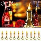 Lote de 5 velas con luz LED sin llama, hilo de cobre, vela de vela con estrellas, decoración de interior, Navidad, boda o fiesta