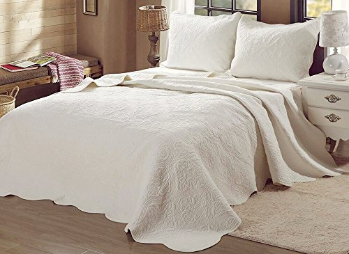 Cozy Line Home Fashions Victorian Medallion Solid Ivory Matelasse Embossed 100 % Cotton Bedding Quilt Set,Coverlet,for Bedroom/Guest Room (Blantyre - Ivory, Queen - 3 Piece)