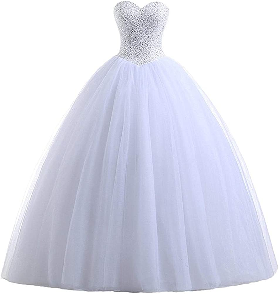 iluckin Strapless Sweetheart Princess Wedding Dresses for Women Bride with Beaded Bridal Ball Gowns Long