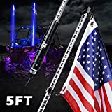 Xprite 5FT Whip Lights, Waterproof Blue LED Flexible Whip Lights with Flag Pole Safety Antenna for 2021 Polaris RZR XP 1000, UTV, ATV, Yamaha, Side by Side, Can Am Maverick X3 and Other Models