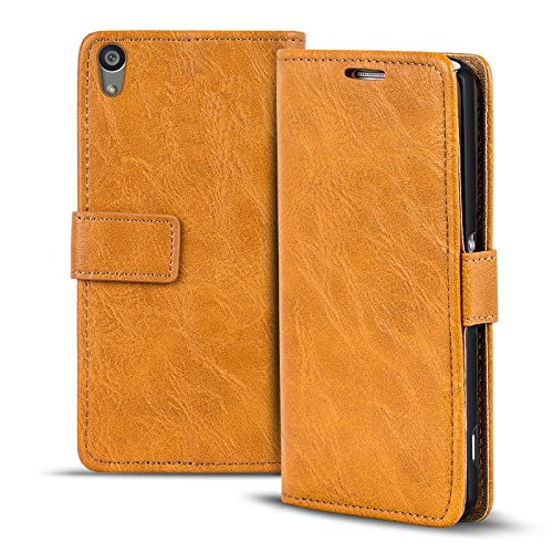 Verco Xperia Z3+ Hülle, Premium Handy Schutzhülle für Sony Xperia Z4 Hülle PU Leder Wallet Tasche Retro Flipcase, Hellbraun