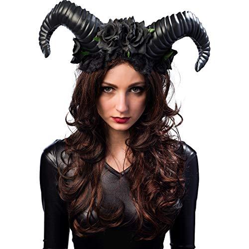 Amakando Diabolischer Haarschmuck Dämon mit Hörnern & Blüten / Schwarz / Dunkle Zauberin Haarreif Schwarze Magie / Bestens geeignet zu Gruselparty & Karneval