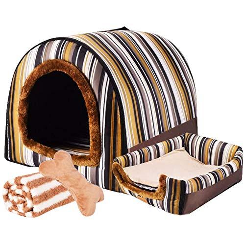 LTLJX Grande Perro Cama para Mascota Invierno Nido 2 en 1 Sofá Lavable Casa Cómoda para Perros Cachorro Conejo Invierno,F,XXL 92 * 68 * 72cm