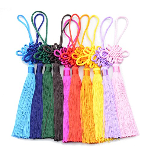 10pcs 8.5 Inch Handmade Silky Floss Chinese Tassel with Satin Silk Made Chinese Knots for Door and Car Handing Decoration, DIY Craft (Mixed1)