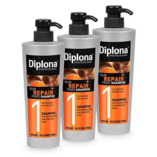 DIPLONA Shampoo für strapaziertes & trockenes Haar - YOUR REPAIR PROFI Shampoo für Frauen - veganes Haarshampoo ohne Silikone & Parabene - Damen Haarpflege 3x 600 ml