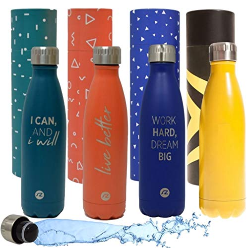 Sternitz Bottiglia per Acqua Acciaio Inossidabile Senza BPA - 24 Ore Freddo & 12 Caldo - 500 ml. (Harbour Blue)