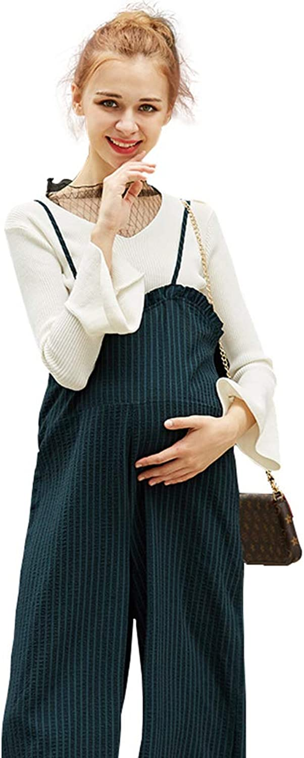 Casual Maternity Clothes Pregnant Women Cotton & Velvet Outwear Pants Adjustable Shoulder Strap and Waist Circumference Pregnant Women Gift Wear to Work (color   Black, Size   L)
