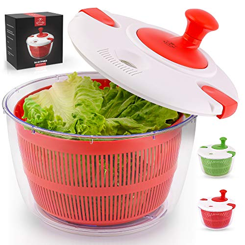 Zulay Kitchen Salad Spinner Large 5L Capacity - Manual Lettuce Spinner With Secure Lid Lock & Rotary Handle - Easy To Use Salad Spinners With Bowl, Colander & Built-in Draining System (Red)