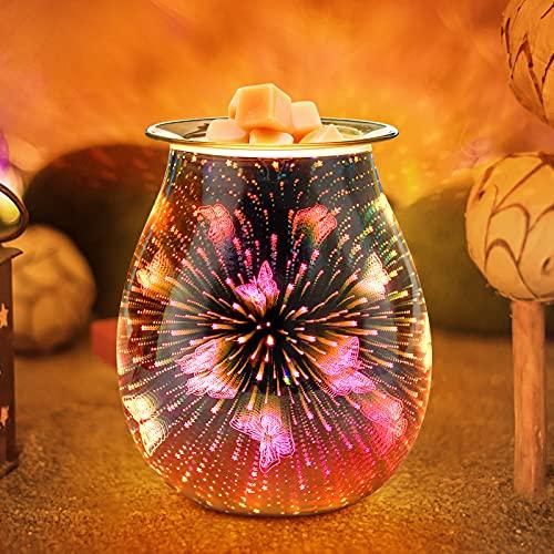 Jumkeet Schmetterling Duftlampen, 3D Elektrische Glas Aroma Lampe, Ölbrenner Wachs Schmelzbrenner Wärmer Kerzenölbrenner, Nachtlicht dekorative Lampe für Home Office Schlafzimmer Wohnzimmer Geschenk