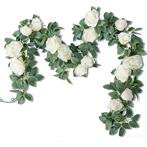 Der Rose 2Pack 12ft Artificial Rose Vine Fake Flower Garland Silk White Rose Hanging Garland for Wedding Arch Backdrop Table Party Wall Decor