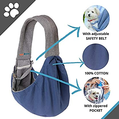BuddyTastic Pet Sling Carrier Dog Bag | Reversible and Hands-Free | Adjustable Strap and Pocket | Comfortable Travel with Dog Cat Puppy | Up to 15 lbs 3