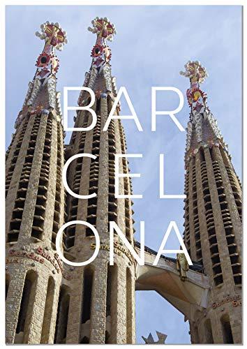 Panorama Dibond Wit Aluminium Stad Barcelona 21 x 30 cm - Gedrukt in Hoogwaardig Dibond Wit Aluminium - Salonboxen - Slaapkamer Frames - Decoratieve Platen - Moderne Foto's