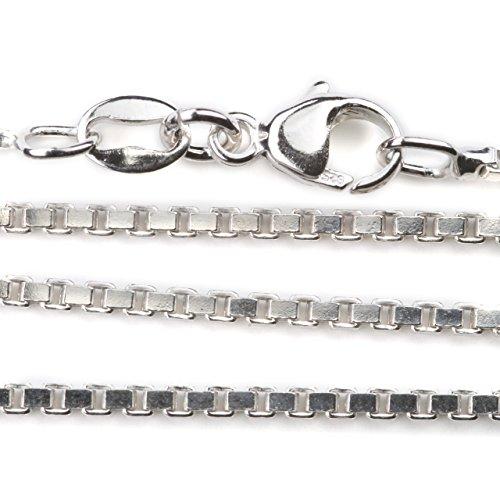 rhodinierte Silberkette 1,5 mm eckiges Profil, 45cm Länge Venezianerkette aus 925 Silber mit Karabinerverschluss Juwelier Qualität