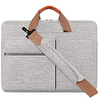 Lacdo 360° Protective Laptop Shoulder Bag Sleeve Case for 16 inch New MacBook Pro A2141 2019-2020 15 Inch Old MacBook Pro 2016-2019 15  Microsoft Surface Book 3 2 Dell XPS 15 Water Repellent Gray