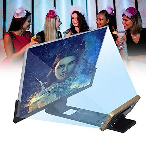 HLSUSAN Telefon Projektor Bildschirm 14 Zoll 3D Falten Smartphone Bildschirmlupe Vergrößerungsglas mit Standfuß für Tragbare Filme und Verstärker,Schwarz