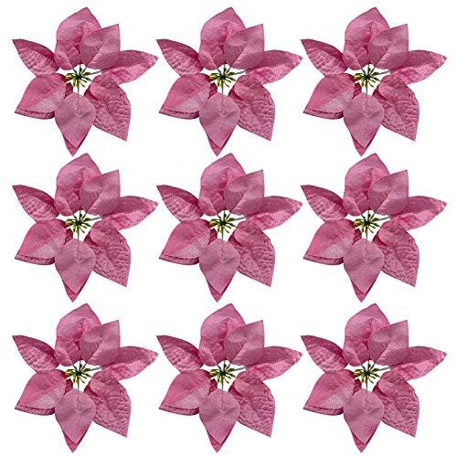 9 Pezzi Glitter Stella di Natale Fiore Decorazione Albero di Natale Fiore Fai da Te Fiori Artificiali per Ghirlanda di Natale Composizione Floreale Decorazione di Cerimonia Nuziale, Rosa