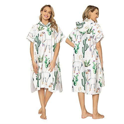Wetsuit Veranderen Towel Robe microvezel Beach Surf Poncho met Hood Cactus en Alpaca Printed volwassen Sleeves strandlaken for surfen zwemmen Bathing