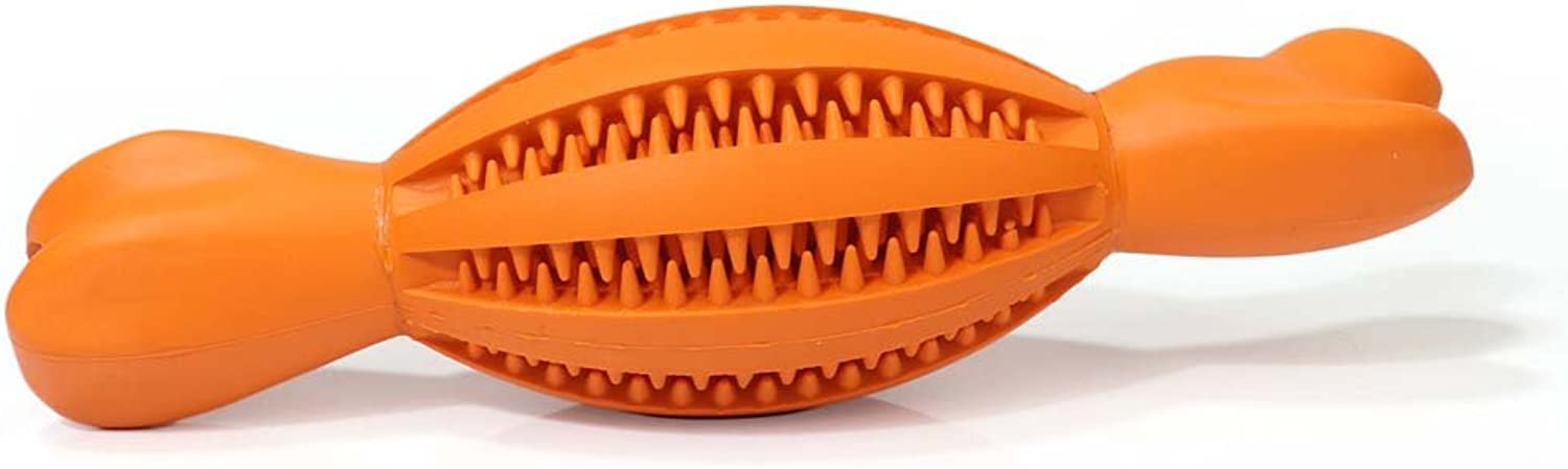 Dog Food Ball Toys, Bone Shape Non Toxic Bite Resistant Toy Ball, Dog Bite Toys for Pet Puppy and Cat (color   orange)