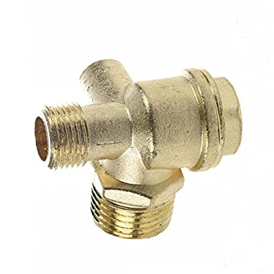 """SODIAL(R) 3/8"""" Female Thread Tube Connector Air Compressor Check Valve Gold Tone from SODIAL(R)"""