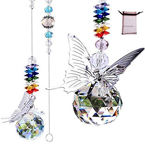 HDCRYSTALGIFTS Colgante de cristal con forma de bola de prisma de cristal con forma de mariposa y arco iris, para colgar en la ventana del hogar, jardín