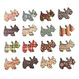 HEALLILY - 50 botones de madera surtidos de perro, botones decorativos, embellecedores con 2 agujeros para costura, ropa, manualidades, color mezclado