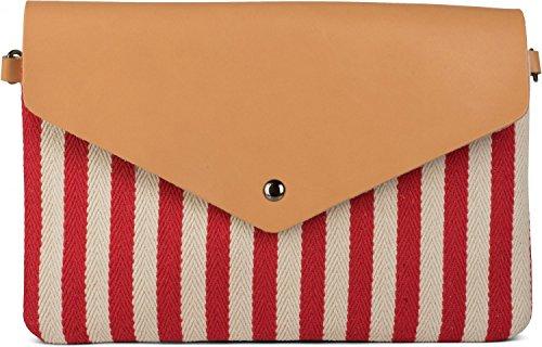 styleBREAKER Bolso de Mano Clutch en Estilo de sobre con Apariencia a Rayas Marinera con Motivo de Espinas de Pescado, Bolso de Bandolera, Bolso, de señora 02012153, Color:Rojo-Beige