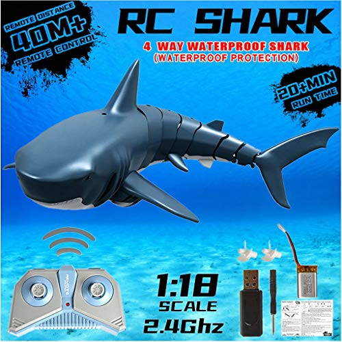 RC Electric Fish Boat | 2.4 GHz Remote Control Fish Shark Radio Boat Ships RC Animal Toy, Racing Shark for Swimming Pool Bathroom Toy Best Gifts for Adults Kids (As Show)