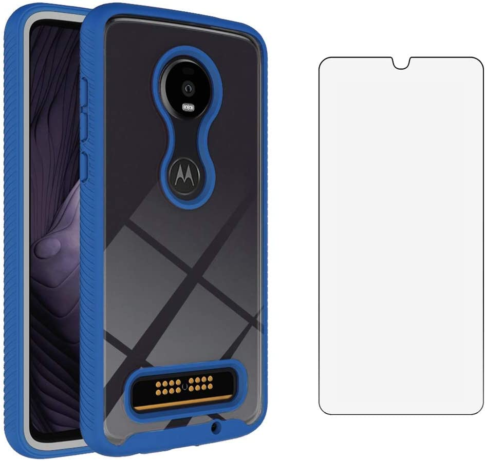 Phone Case for Moto Z4/Moto Z 4 Play/MotoZ4 Force with Tempered Glass Screen Protector Clear Cover and Bumper Hybrid Cell Accessories Motorola 4Z Motoz4cases MotoZ4Play XT1980-4 2019 Cases Men Blue