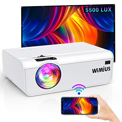 WiFi Projector, WiMiUS K2 5500 Lumens Mini Projector Full HD 1080P Projector Support 200'' Display Zoom Compatible with Smartphone (Wirelessly) PC TV Stick Chromecast (White)