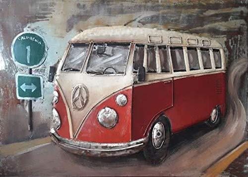 Schilderij Metaal 3D art, VW Volkswagen Bus (rood) 80 x 120 cm