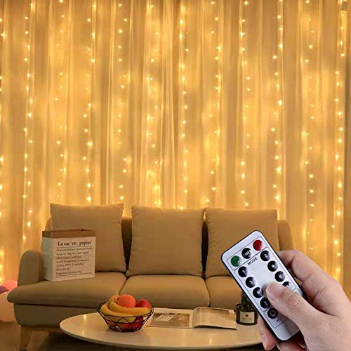 Curtain String Lights 300 LED 8 Lighting Modes Fairy Lights Window USB Powered Waterproof Copper Lights DIY for Christmas Bedroom Party Wedding Home Garden Wall Decorations(Warm)