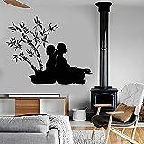 mlpnko Yoga relajación meditación Pose Zen Budismo Vinilo Etiqueta de la Pared Etiqueta de la Pared Dormitorio decoración del hogar Mural,CJX10438-55x69cm