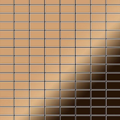 Azulejo mosaico de metal sólido Titanio Amber espejo cobre 1,6 mm de grosor ALLOY Bauhaus-Ti-AM 1,05 m2