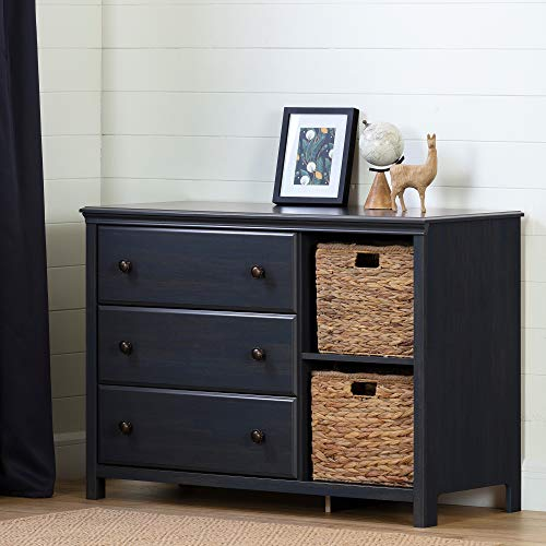 South Shore Cotton Candy 3-Drawer Dresser with Baskets-Blueberry