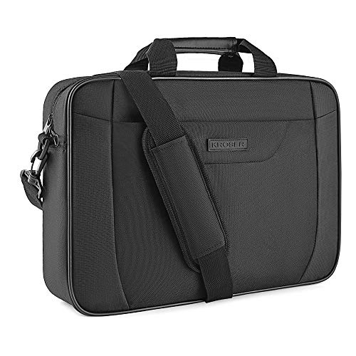 KROSER Laptop Bag 15.6 Inch Briefcase Laptop Shoulder Messenger Bag Water-Repellent Lightweight Urban Office Bag Business Carrying Handbag School Computer Bag for Men/Women-Black