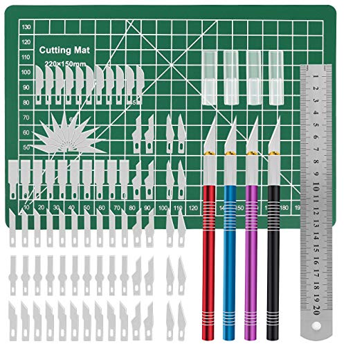 Gafild Carving Craft Messer Set, 86pcs HobbyMesser Kit Schnitzmesser Skalpell Skulptur mit 4 Griffen 80 Ersatzklingen 1 Schneidebrett 1 Stahllineal für DIY Art Work Cutting